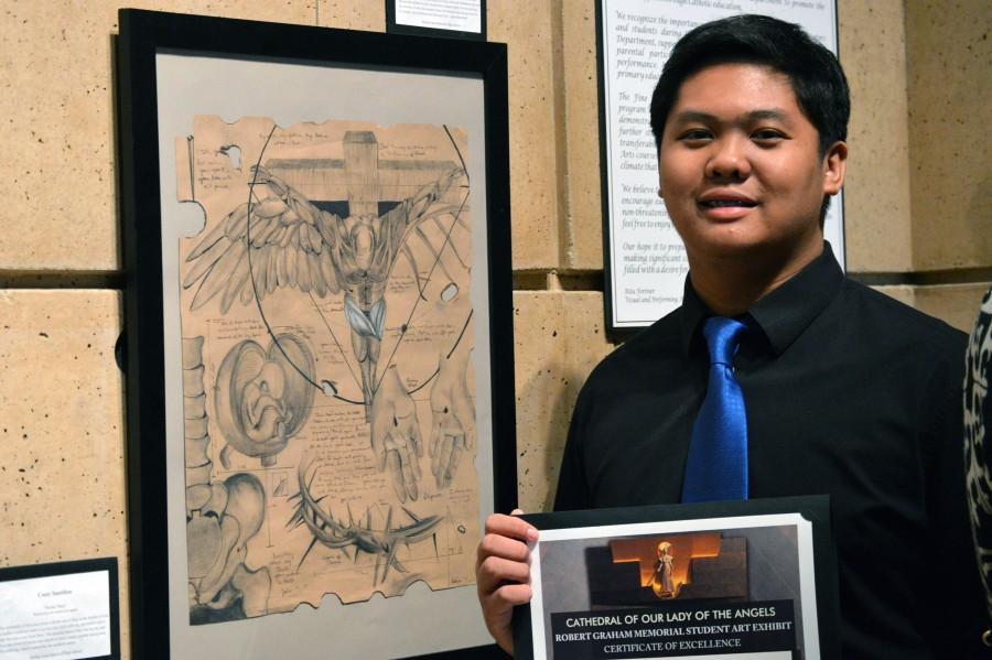 Senior Patrick Cunanan and his artwork