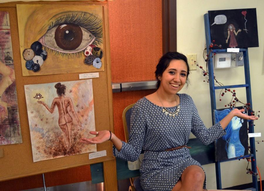 Senior Marisa Saldana showcases her artwork.