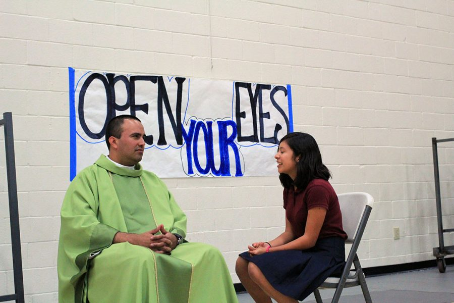 Freshmen received confession after mass.