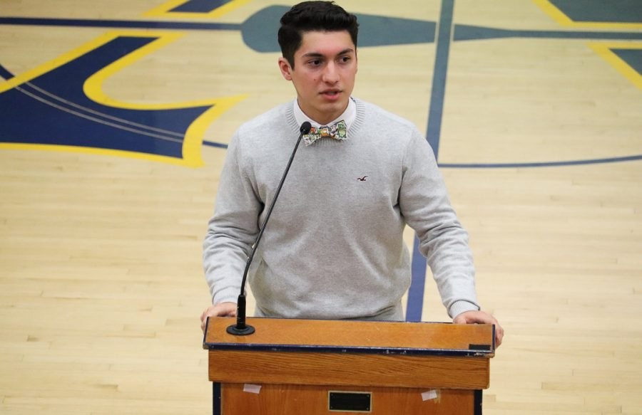 Jadin Verduzco delivers a speech to persuade propsective students to attend Amat.