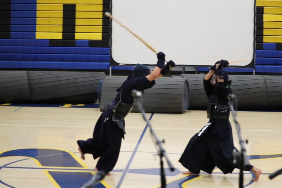 The Kendo boys show off some of their fighting techniques.