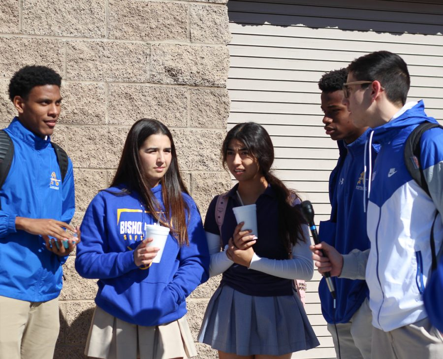 A group of Bishop Amat students are giving their opinion about the new lemon cookies.