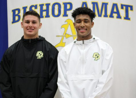 Elijah Ponder and 	Ethan Rodriguez excited after signing their National Letter of Intent.
