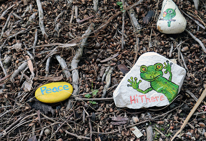 These inspirational rocks are giving some messages to the Bishop Amat family.